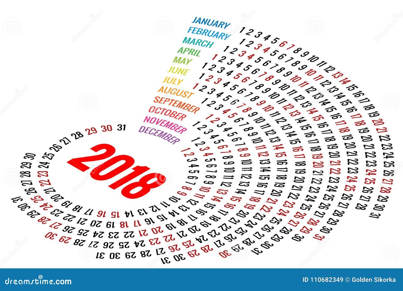 Calendario rotondo 2018 di vettore su fondo bianco Orientamento del ritratto Un insieme di 12 mesi Pianificatore per 2018 anni