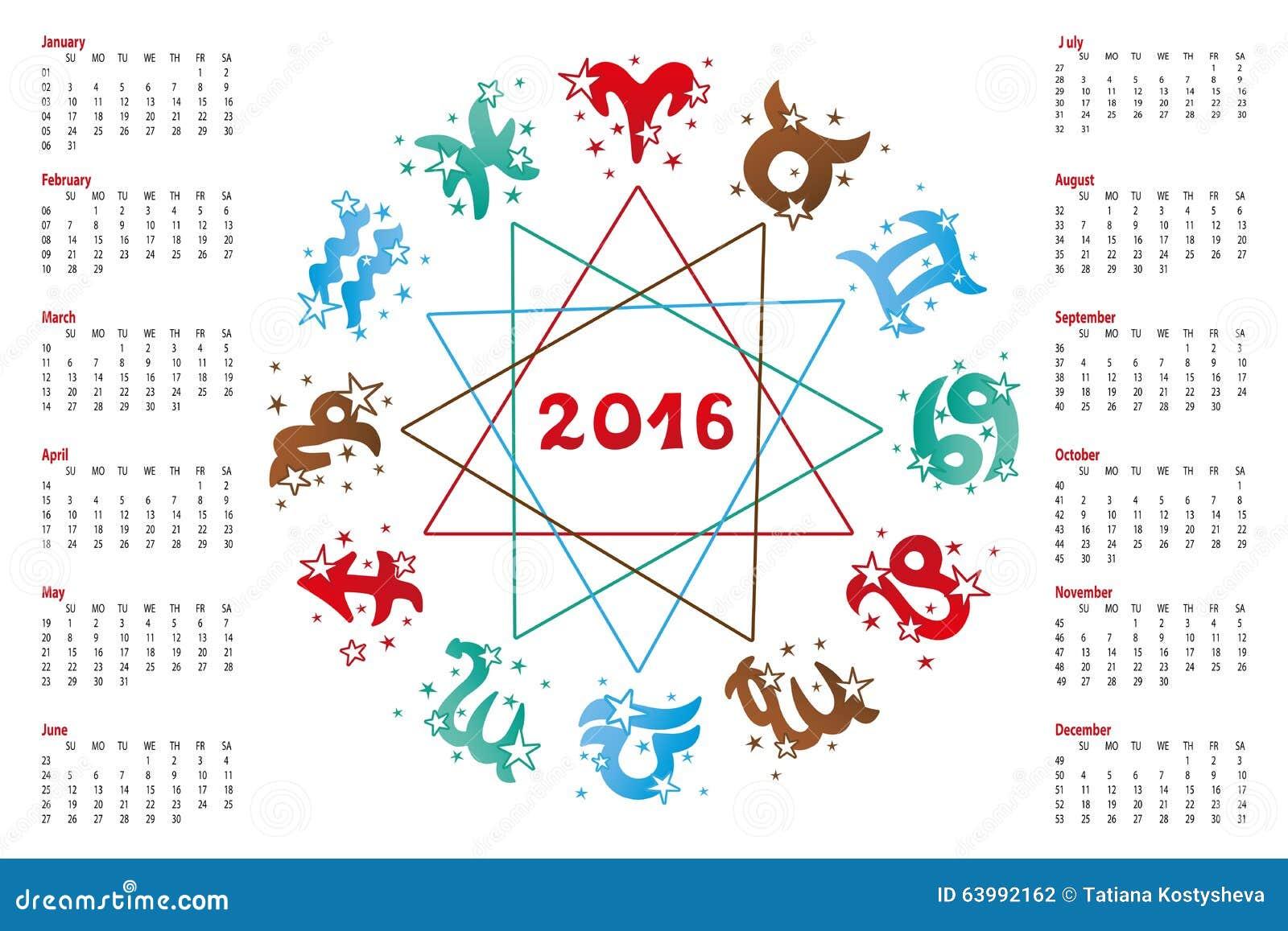 Calendario Oroscopo.Calendario 2016 Segno Dello Zodiaco Dell Oroscopo