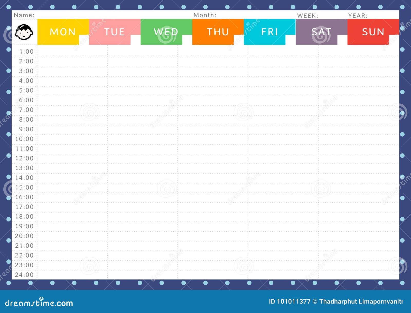 Calendario Semanal.Calendario Semanal Del Muchacho Ilustracion Del Vector Ilustracion
