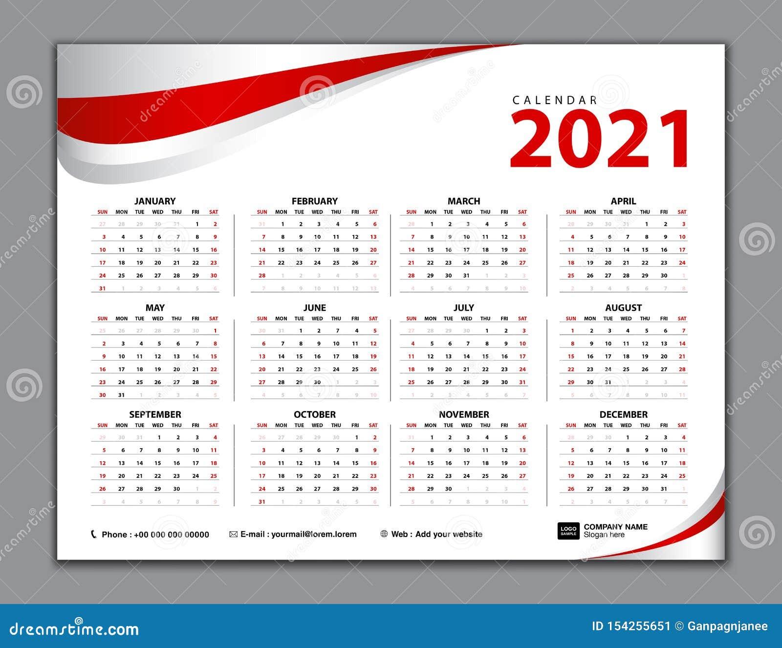 Calendario 2021, Calendario Semplice, Scrittorio, Inizio Di