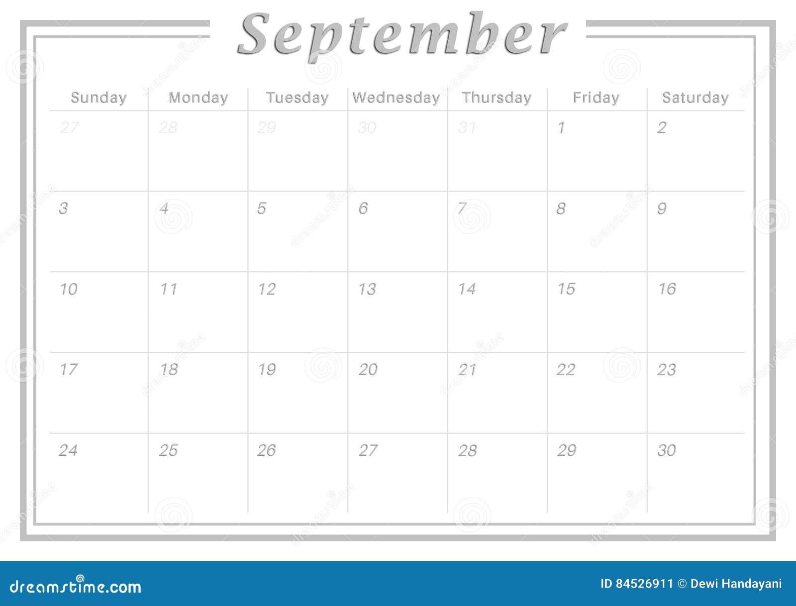 Amato Calendario Settembre 2017 Mensile Illustrazione di Stock  AW42