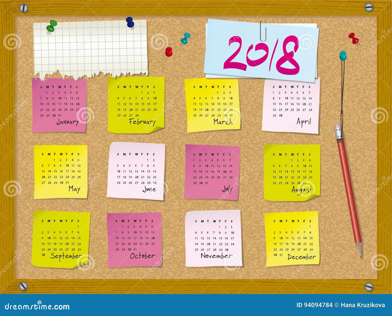 Calendario Con Note.2018 Calendario Settimana Inizia La Domenica Tappi Il