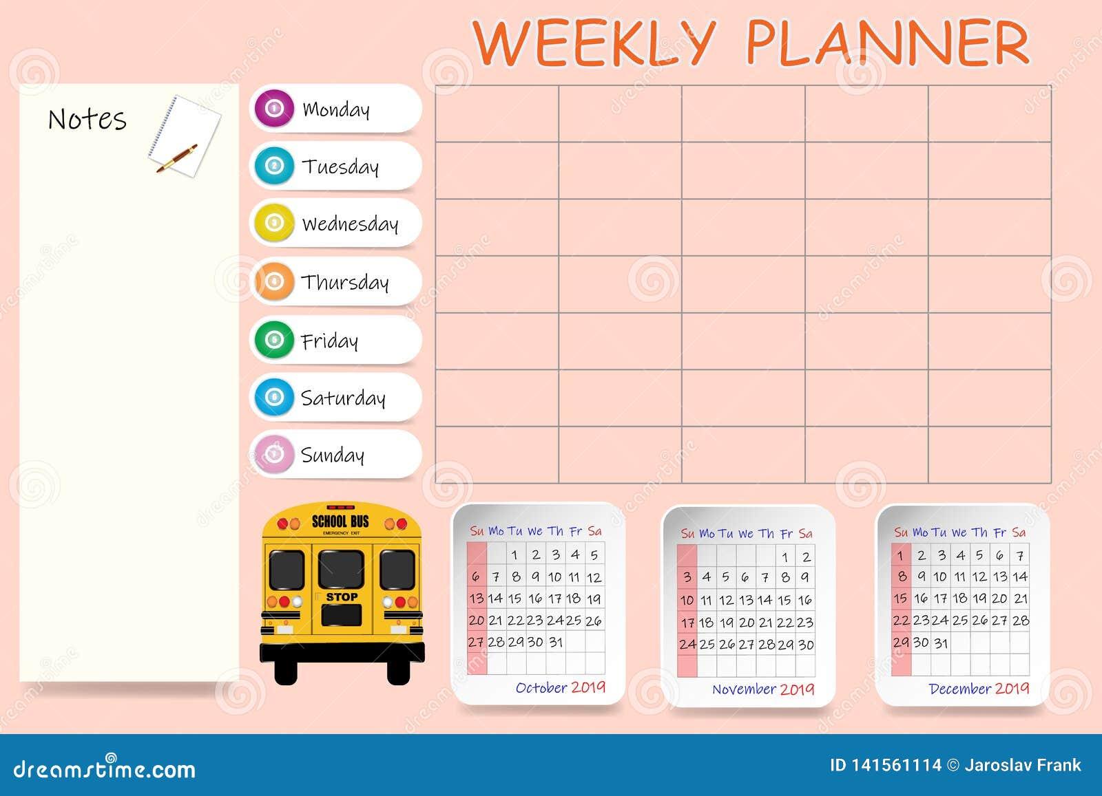Pagina Calendario Settimanale.Calendario Settimanale Della Scuola Per Il Quarto Trimestre