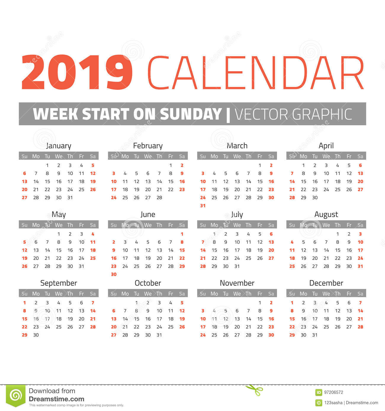 Calendario 206.Calendario Simple De 2019 Anos Ilustracion Del Vector