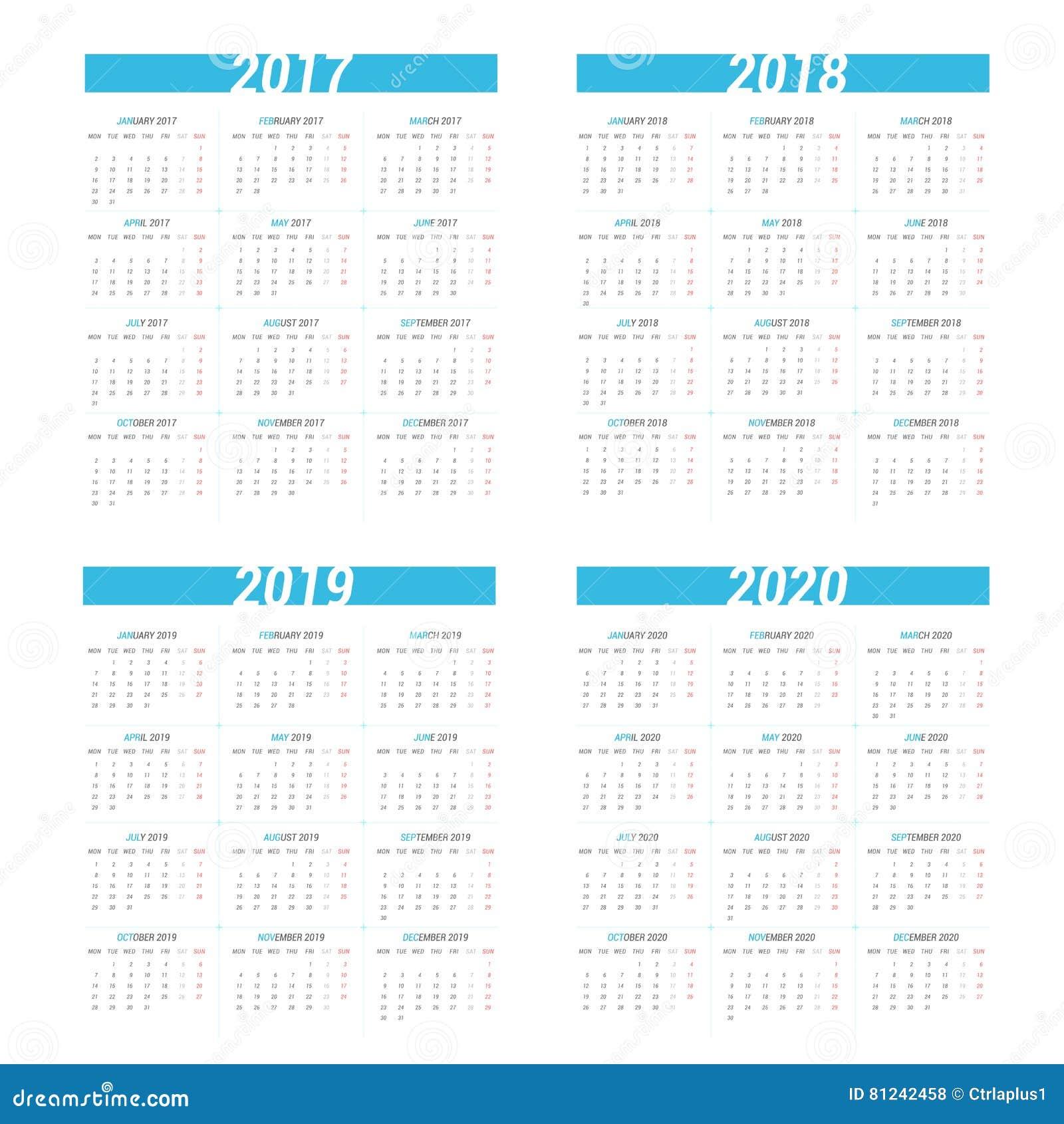 Calendario Por Semanas 2020.Calendario Simple Por 4 Anos 2017 2020 La Semana Empieza De Lunes