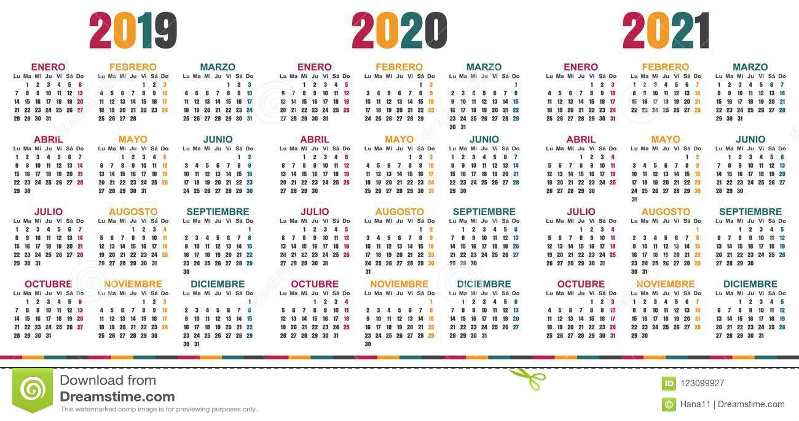 Calendario Spagnolo.Calendario Spagnolo 2019 2021 Illustrazione Vettoriale