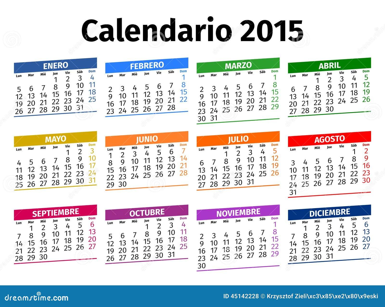 Calendario In Spagnolo.Calendario Spagnolo 2015 Illustrazione Vettoriale