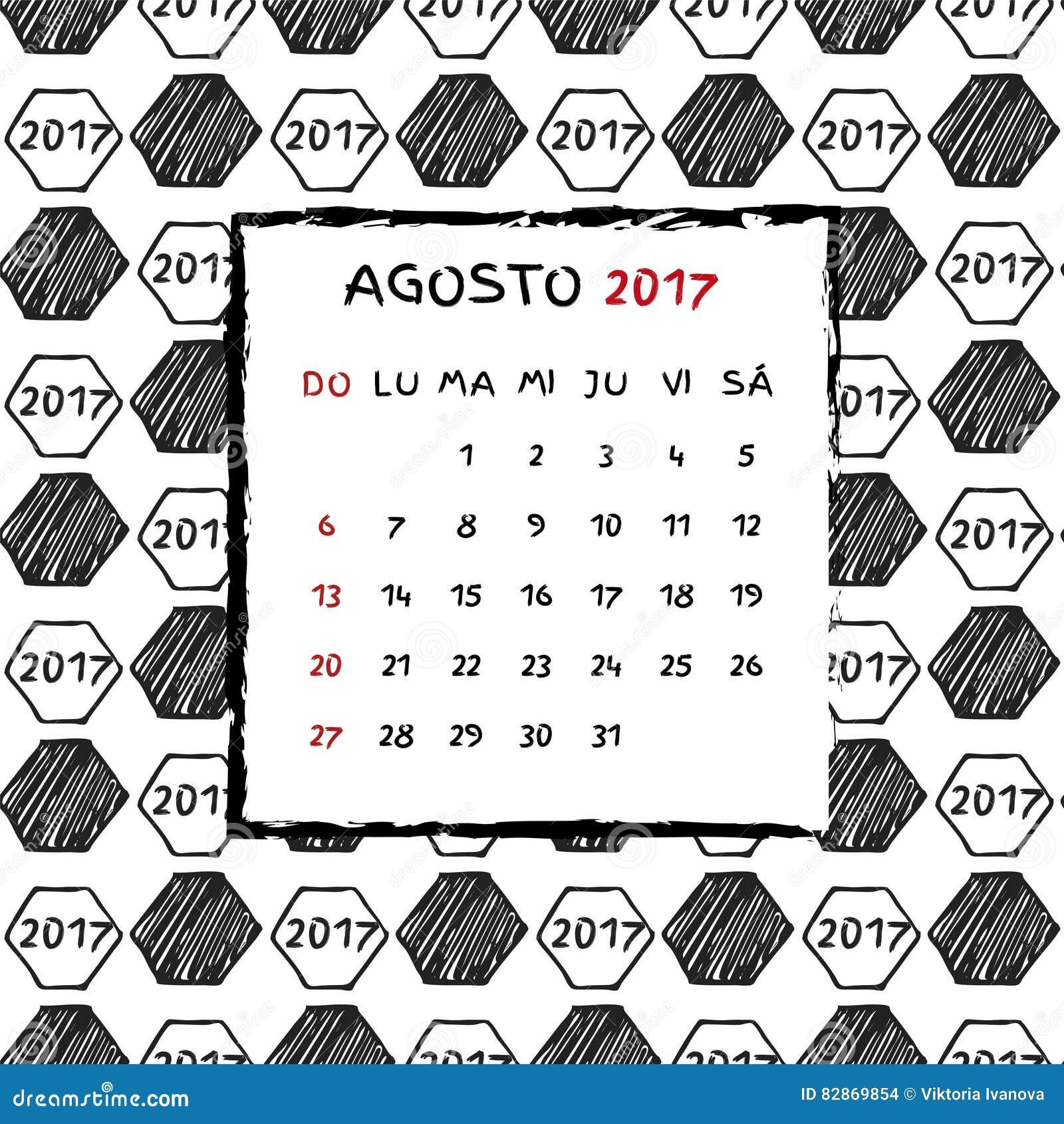 Calendario Calcio Spagnolo.Calendario Spagnolo 2017 Illustrazione Vettoriale
