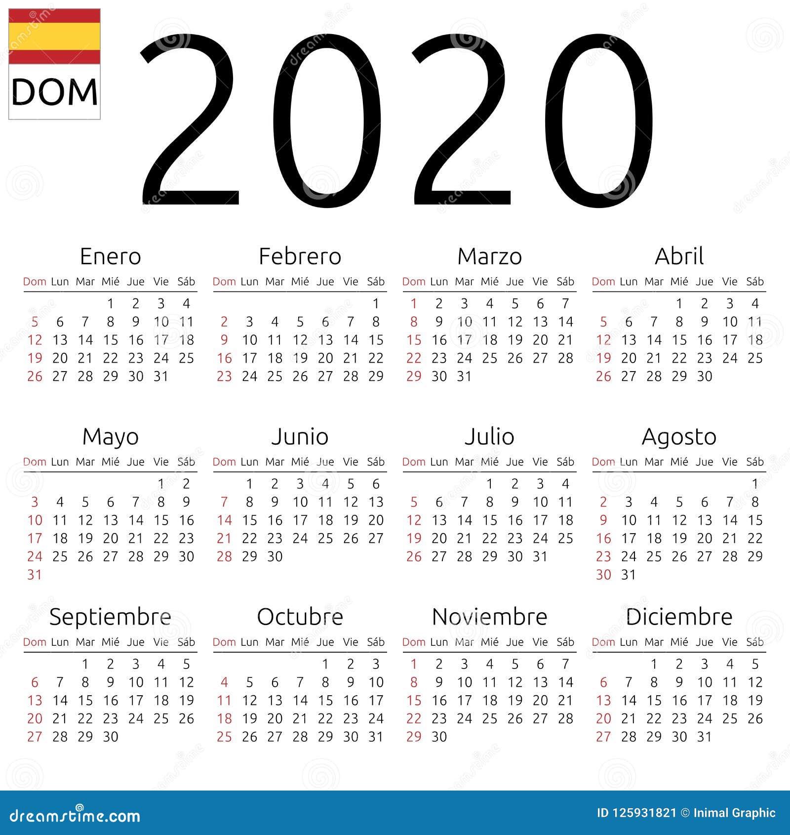 Calendario Spagnolo.Calendario 2020 Spagnolo Domenica Illustrazione Vettoriale