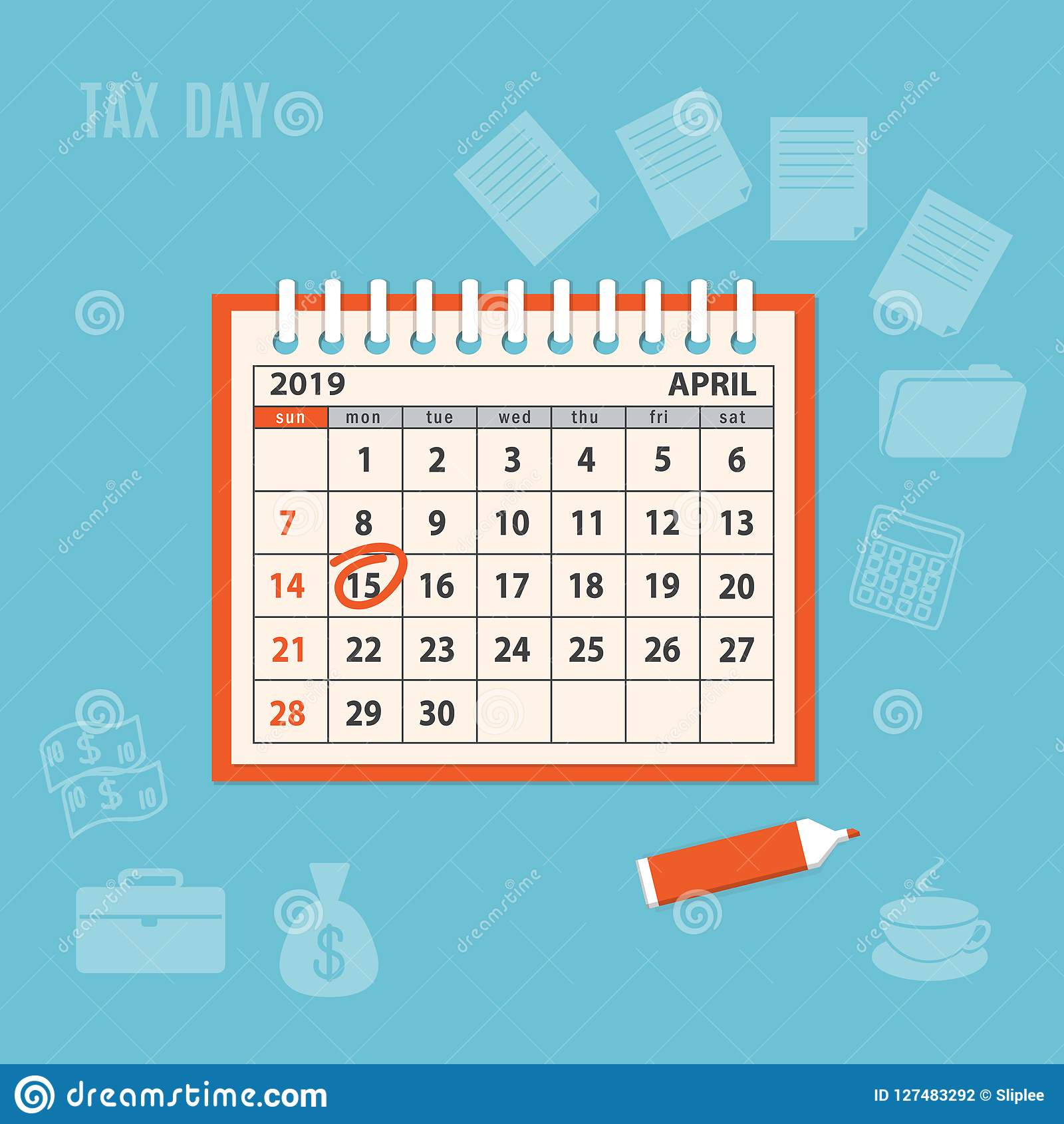 Imposta Calendario.Calendario A Spirale Della Pagina 2019 Di Aprile Con Il