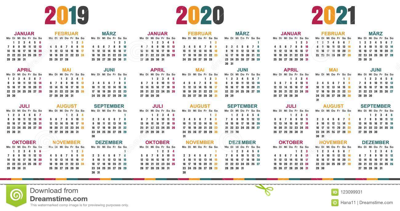 Calendario Tedesco 2019 2021 Illustrazione Vettoriale