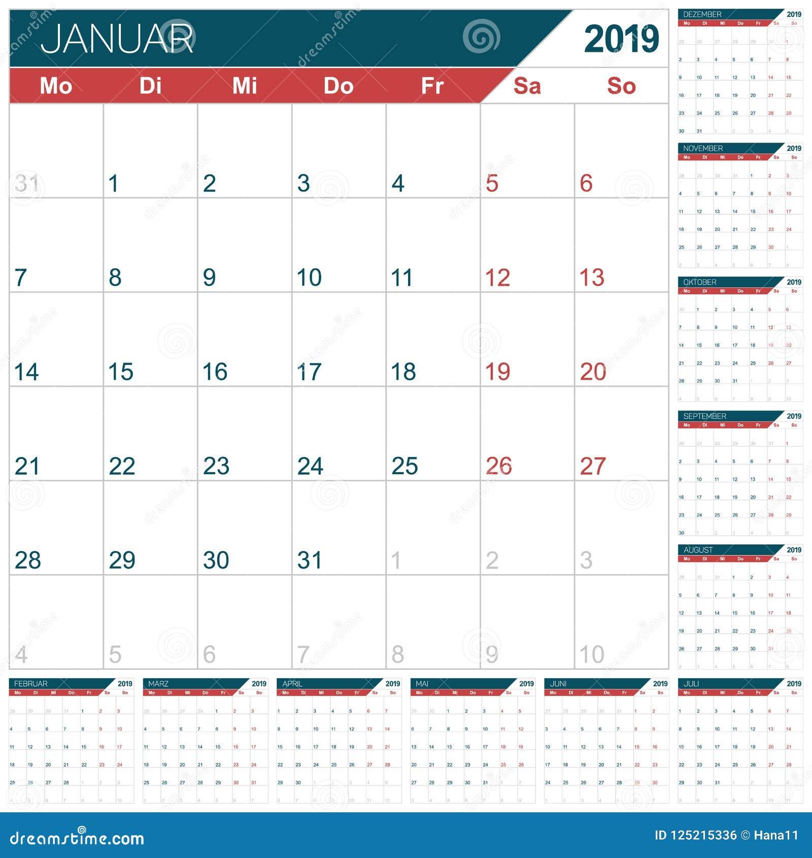Calendario tedesco per l anno 2019