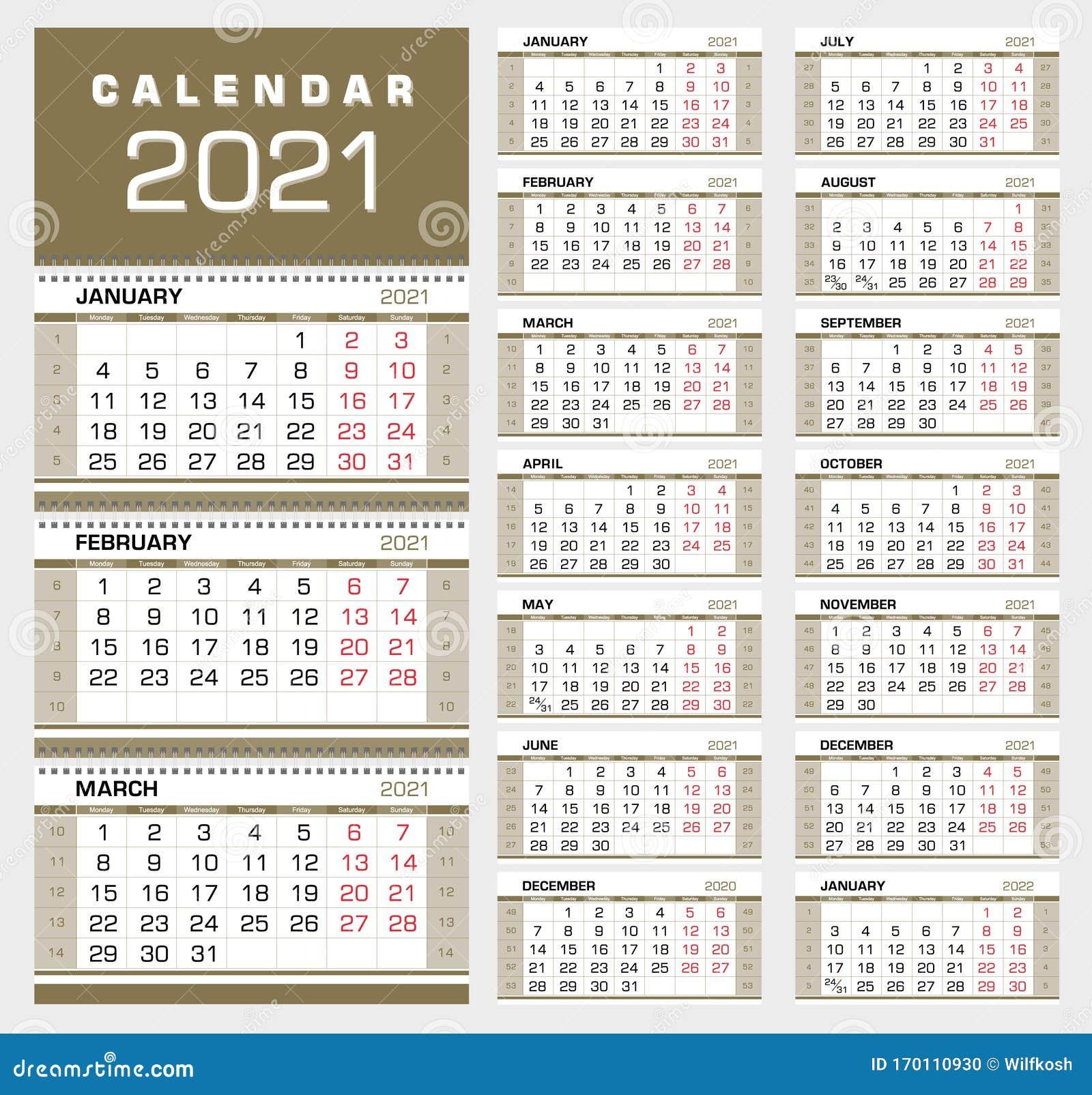 Calendario Trimestrale 2021 Del Gold Wall Con Numeri Di Settimana