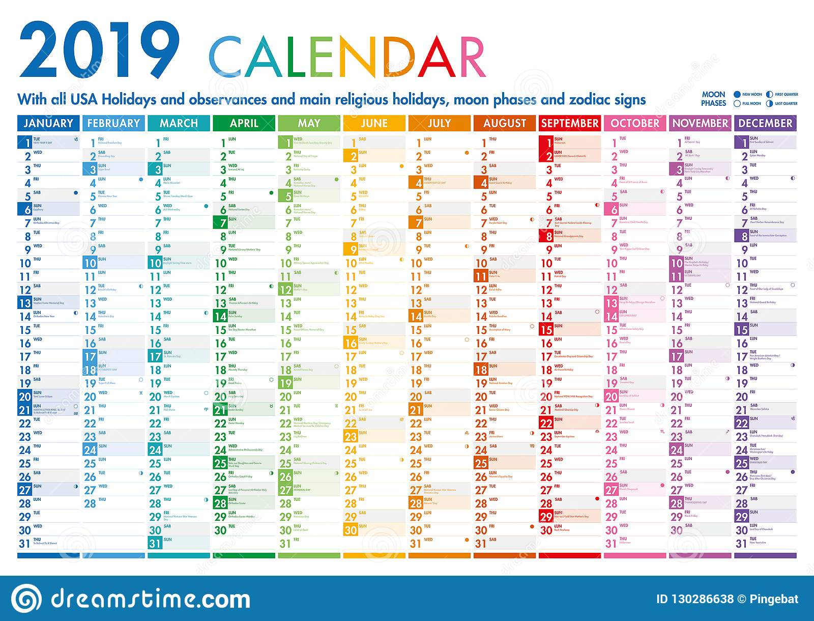 Calendario Feste.Calendario Variopinto Con Le Feste Degli Stati Uniti