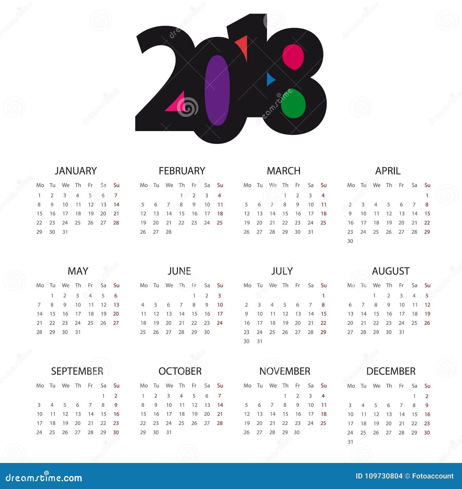 Calendario 2018 - vector Editable