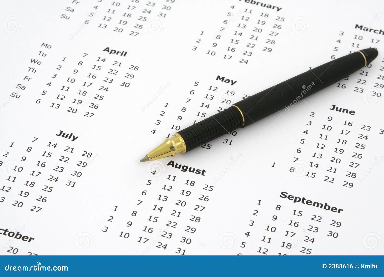 Calendario y bolígrafo #2