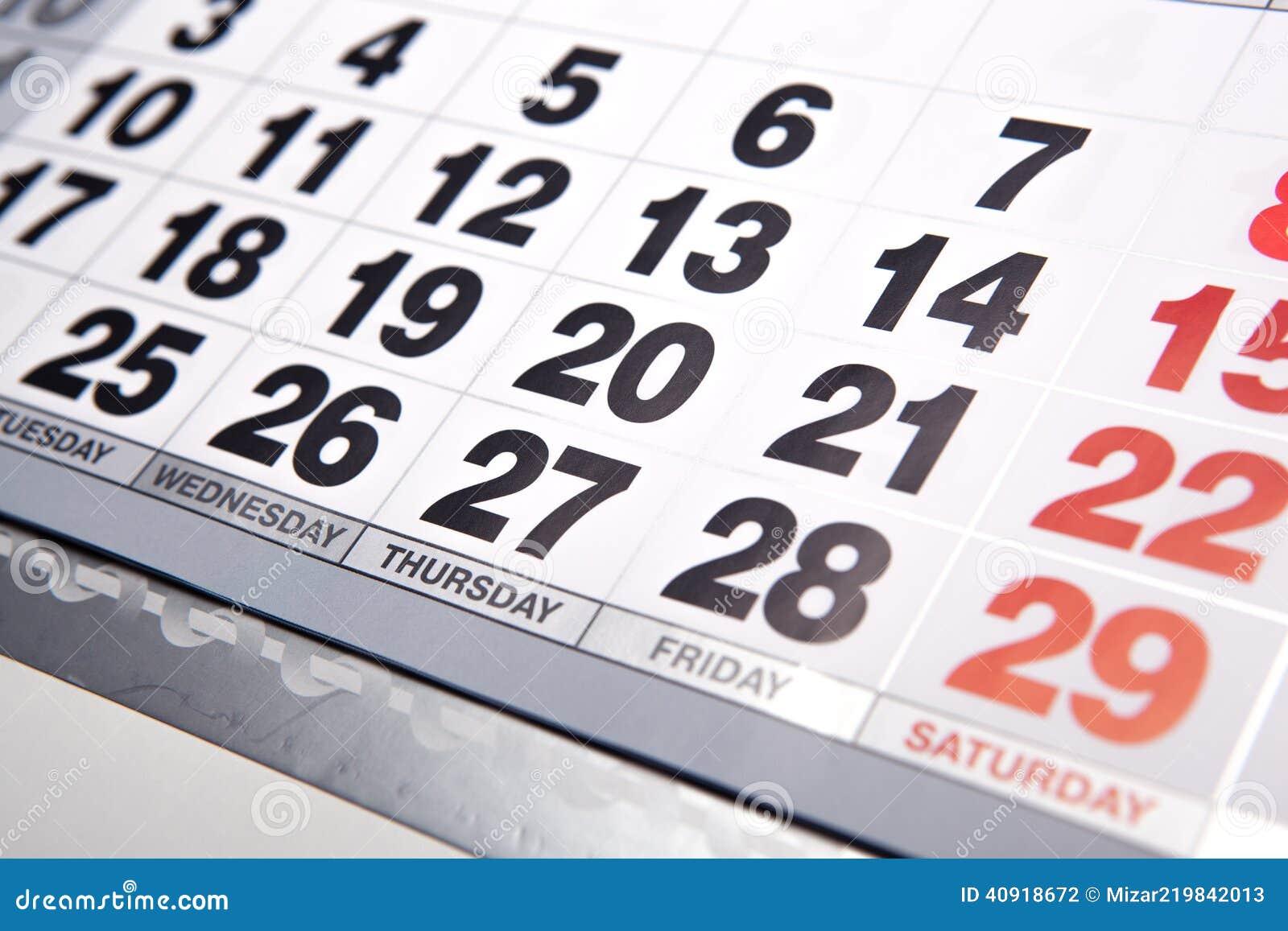 Calendario Y Número De Pared Foto de archivo - Imagen de días, marco ...
