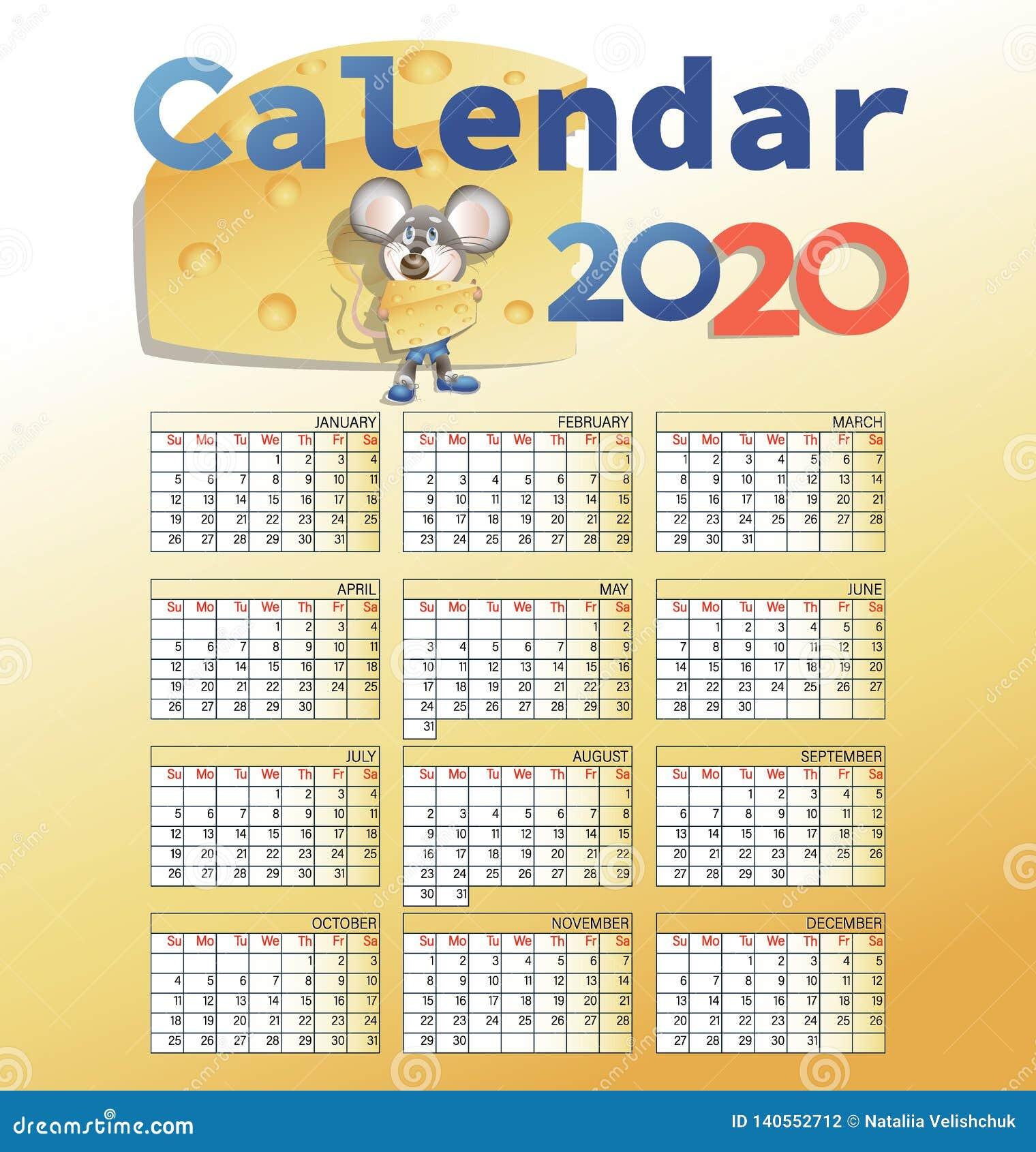 Calendario 2020 y ratón con queso
