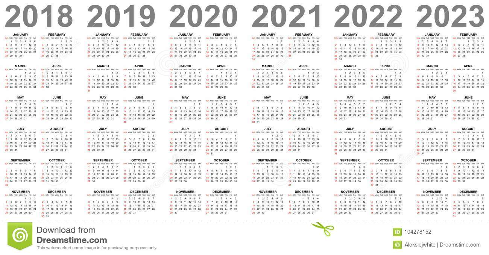 Calendarios Simples Por Años 2018 2019 2020 2021 2022 ...