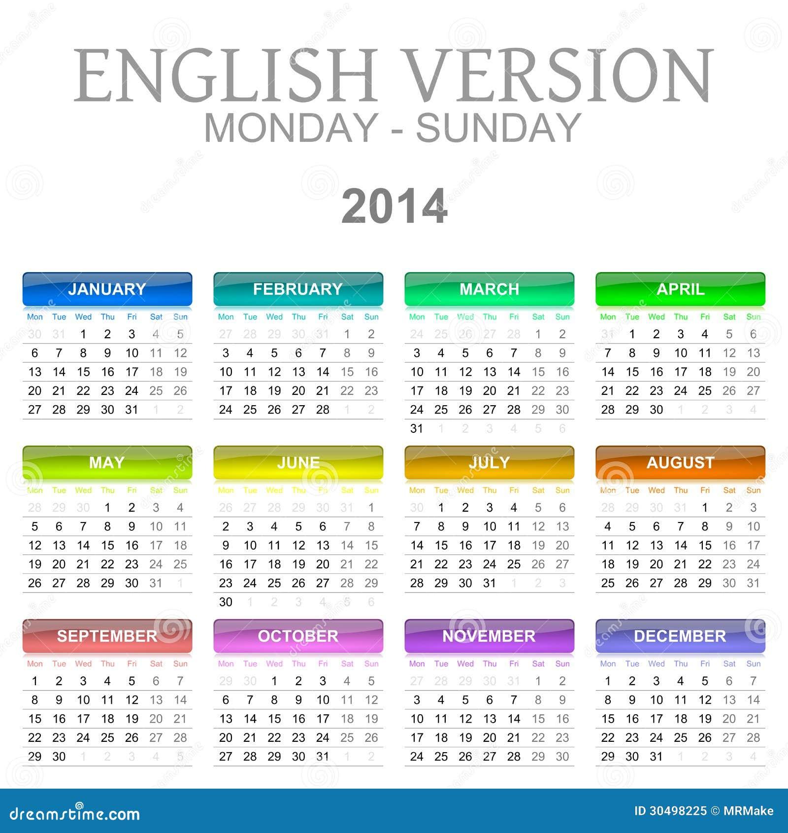 Calendario Em Ingles 2017 3