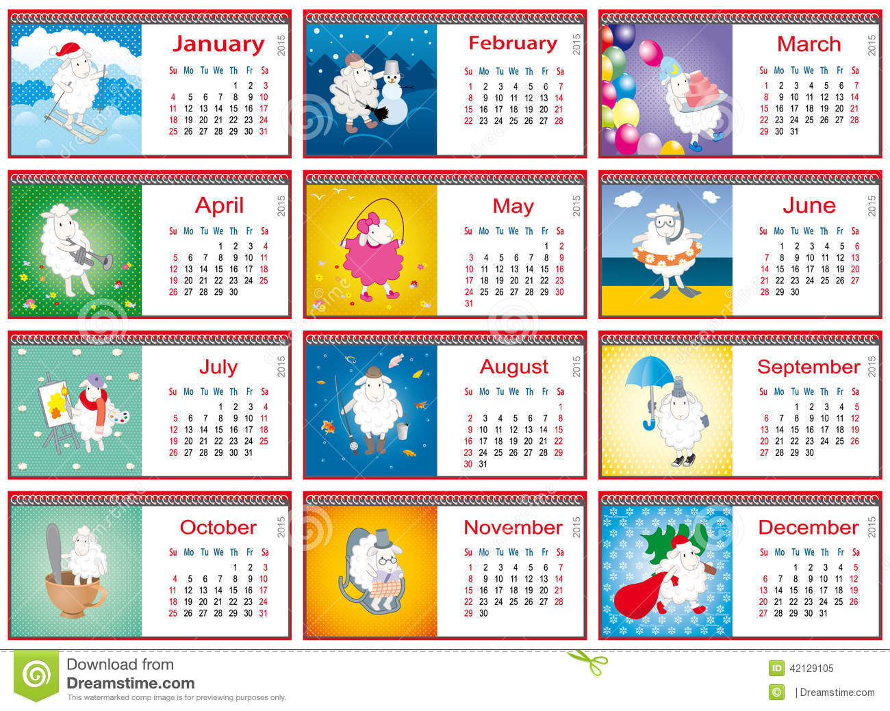 Calendars For Each Month In 2015 With Active Sheep Stock ...