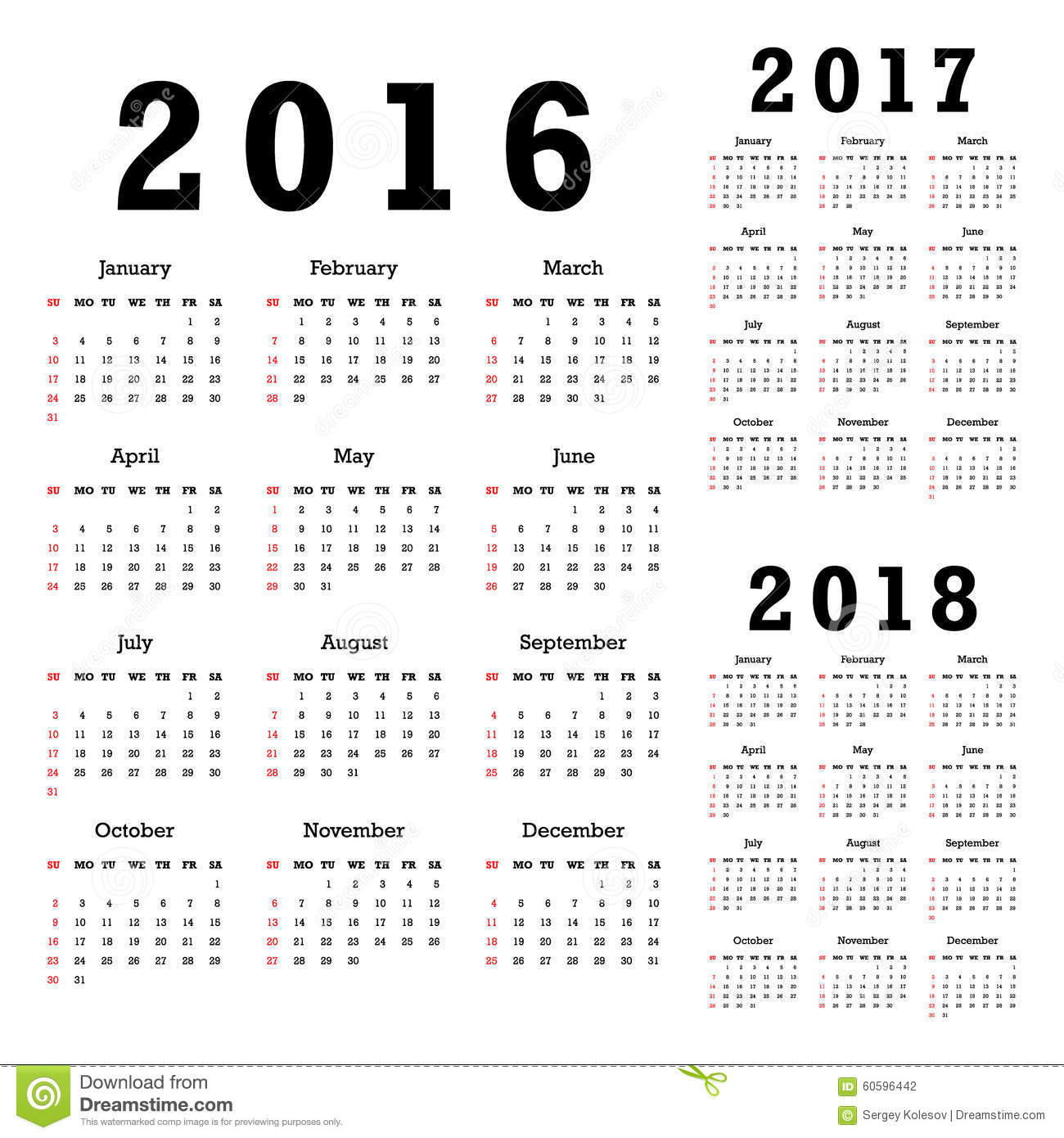 Calendars for 2016 2018 stock vector. Illustration of 2017   60596442