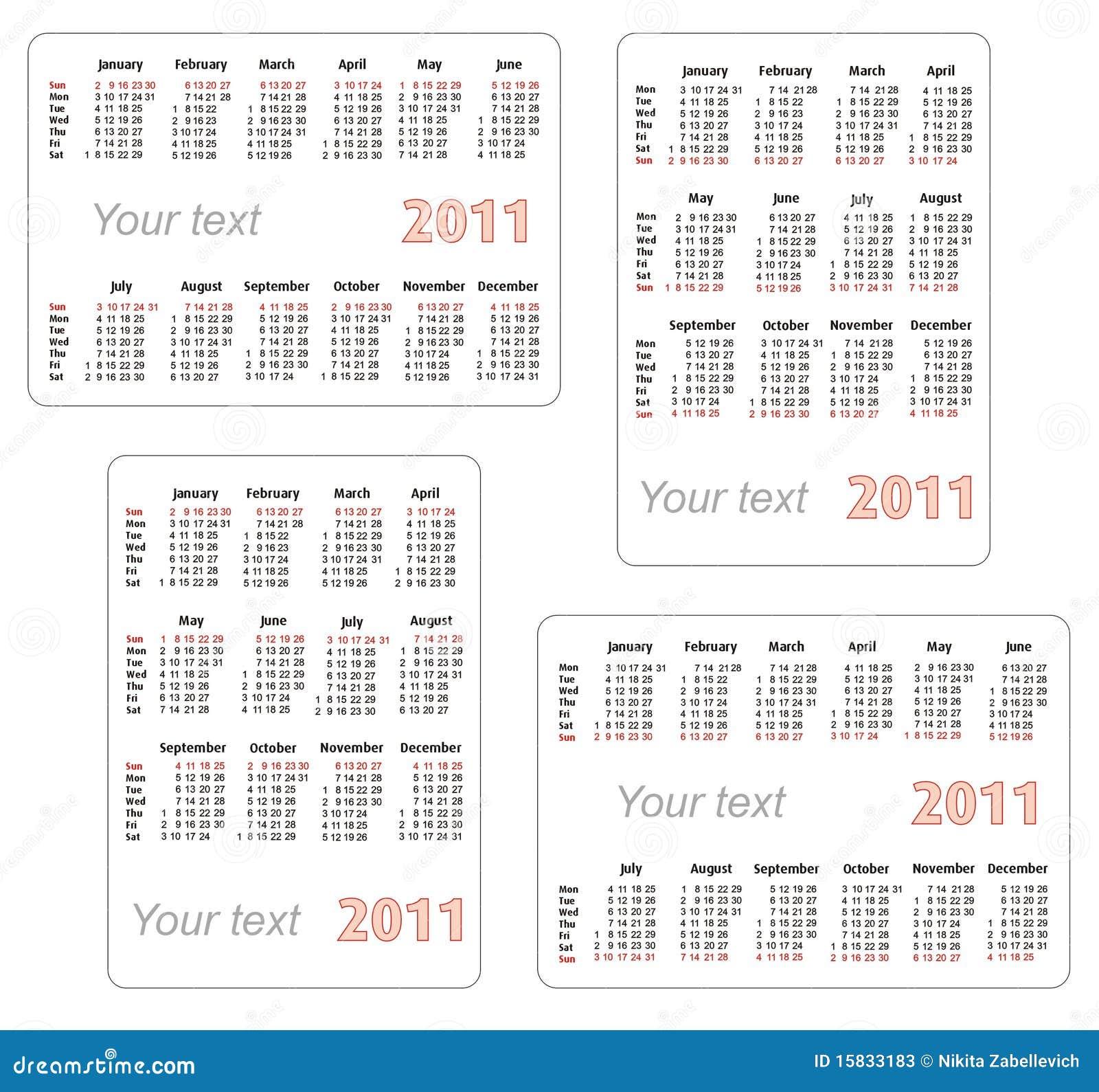 Calendrier 2011 avec l espace vide pour votre texte