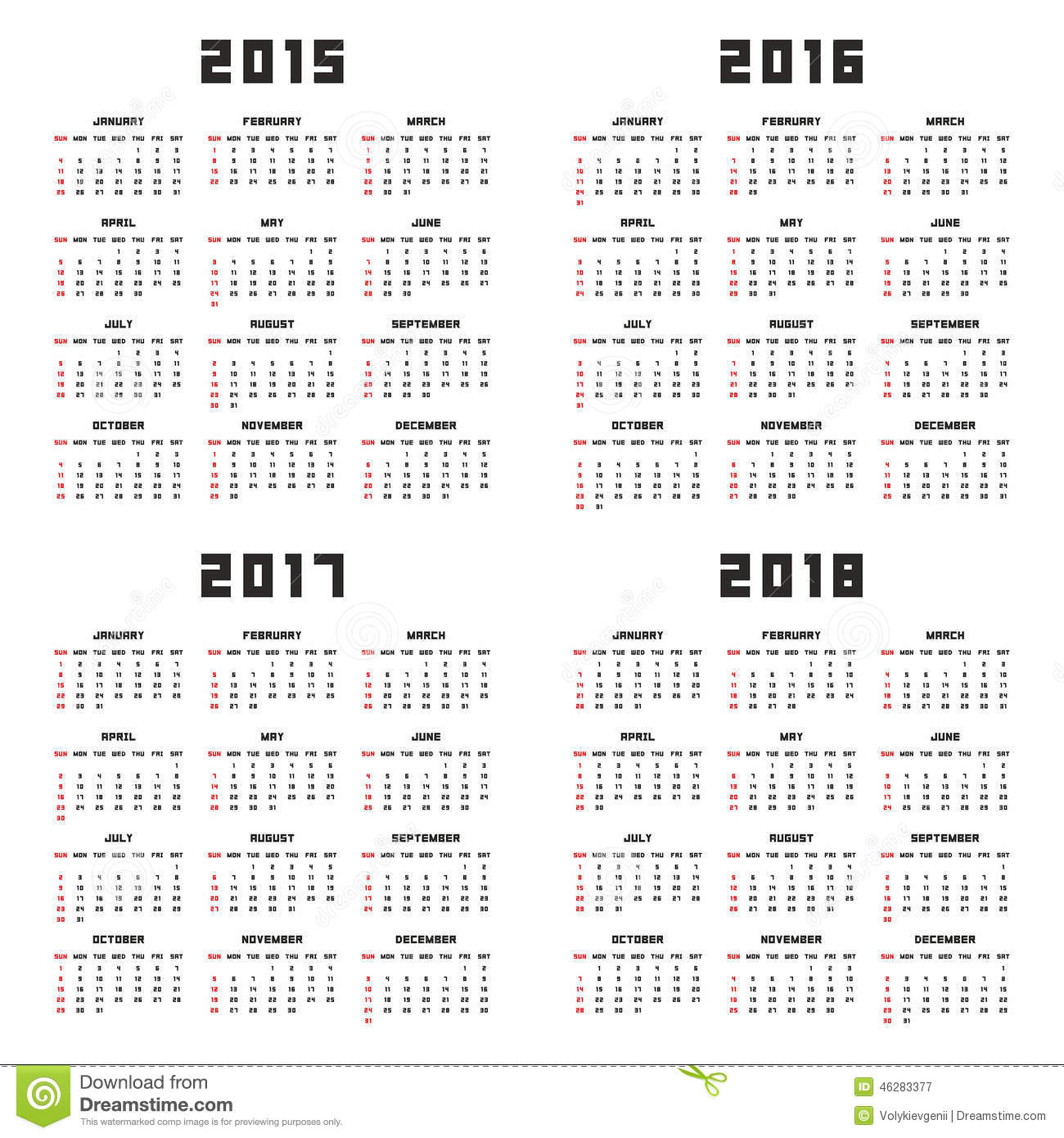 calendrier 2015 2016 2017 2018 illustration de vecteur. Black Bedroom Furniture Sets. Home Design Ideas