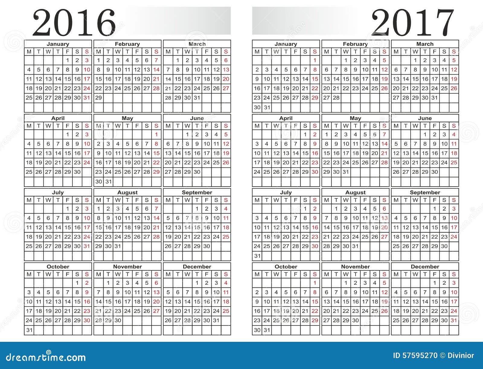 CALENDRIER 2016-2017 Illustration de Vecteur - Image: 57595270