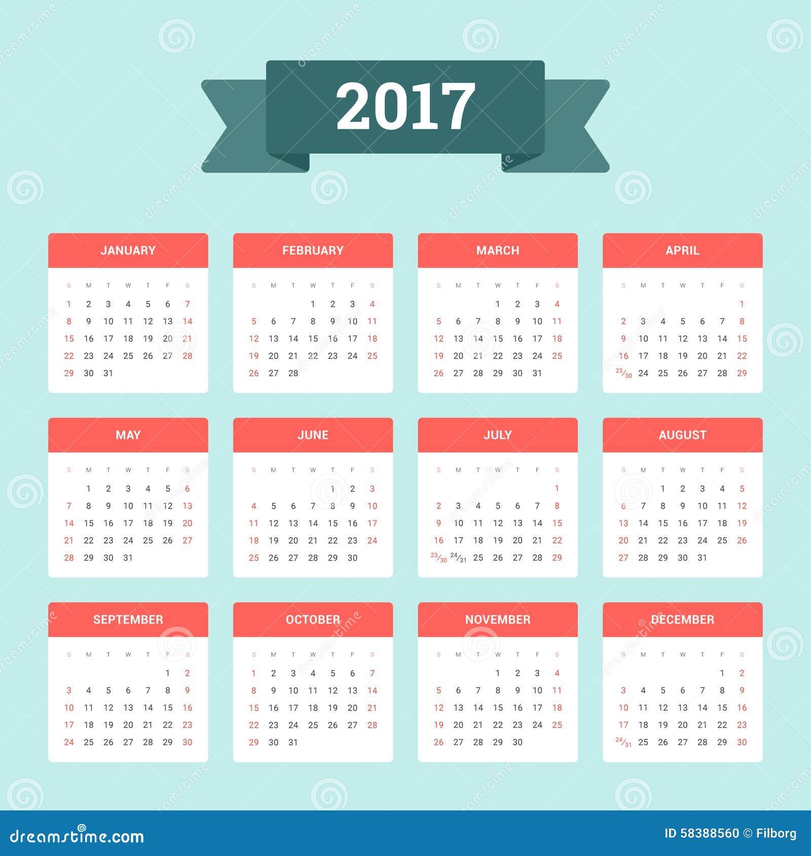 Calendrier 2017 illustration de vecteur illustration du bureau 58388560 - Calendrier du jardinier 2017 ...