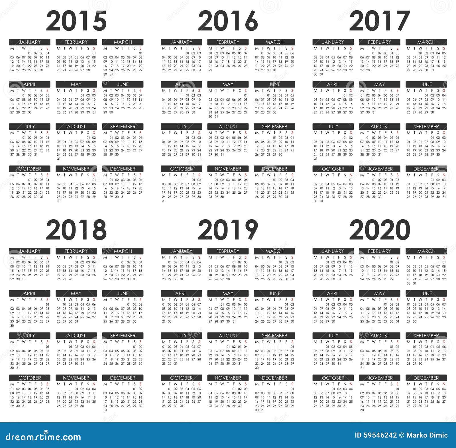 Calendar 2019 To 2024