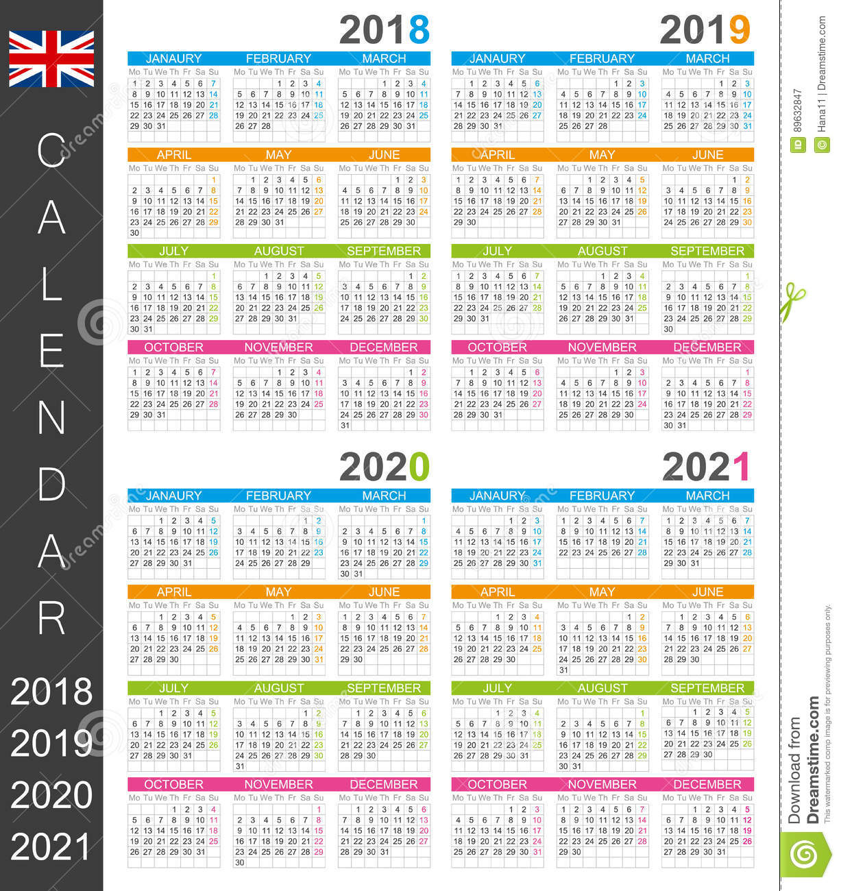 Calendrier 2018 2021 Calendrier 2018 2021 illustration de vecteur. Illustration du 2018
