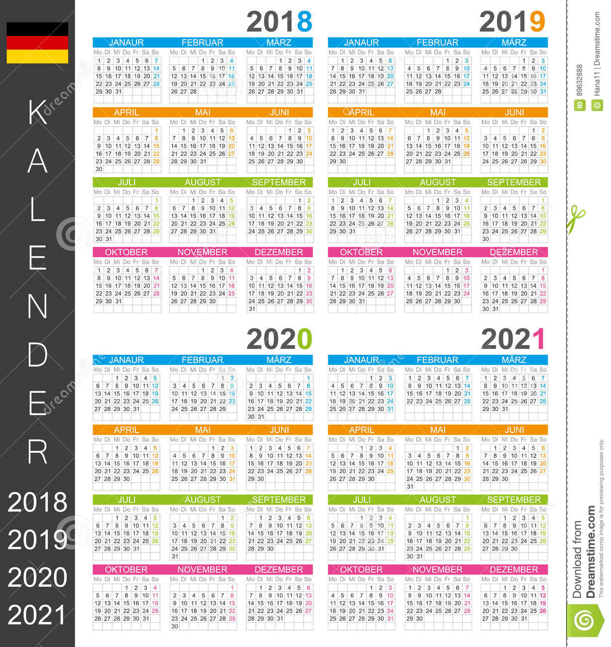 Calendrier 2018_2021 Calendrier 2018 2021 illustration stock. Illustration du