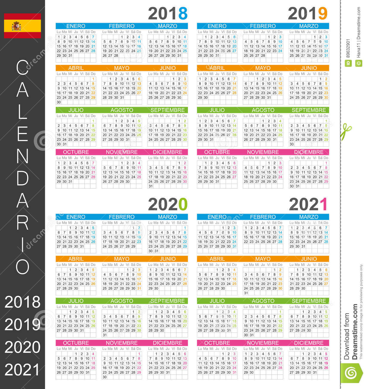 Calendrier 2018_2021 Calendrier 2018 2021 illustration stock. Illustration du 2021