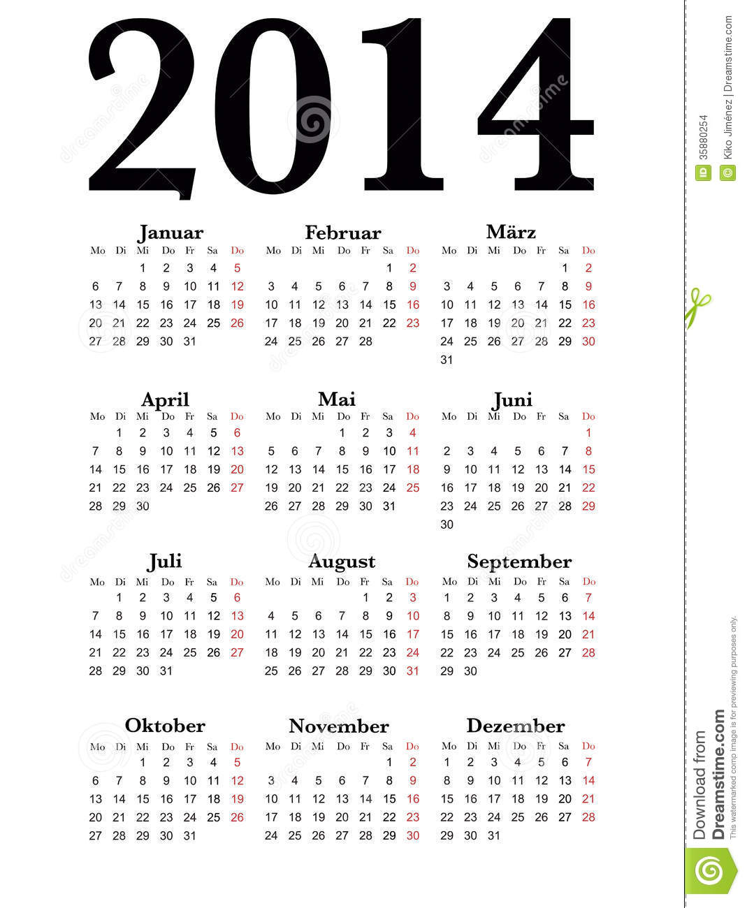 Calendrier allemand 2014