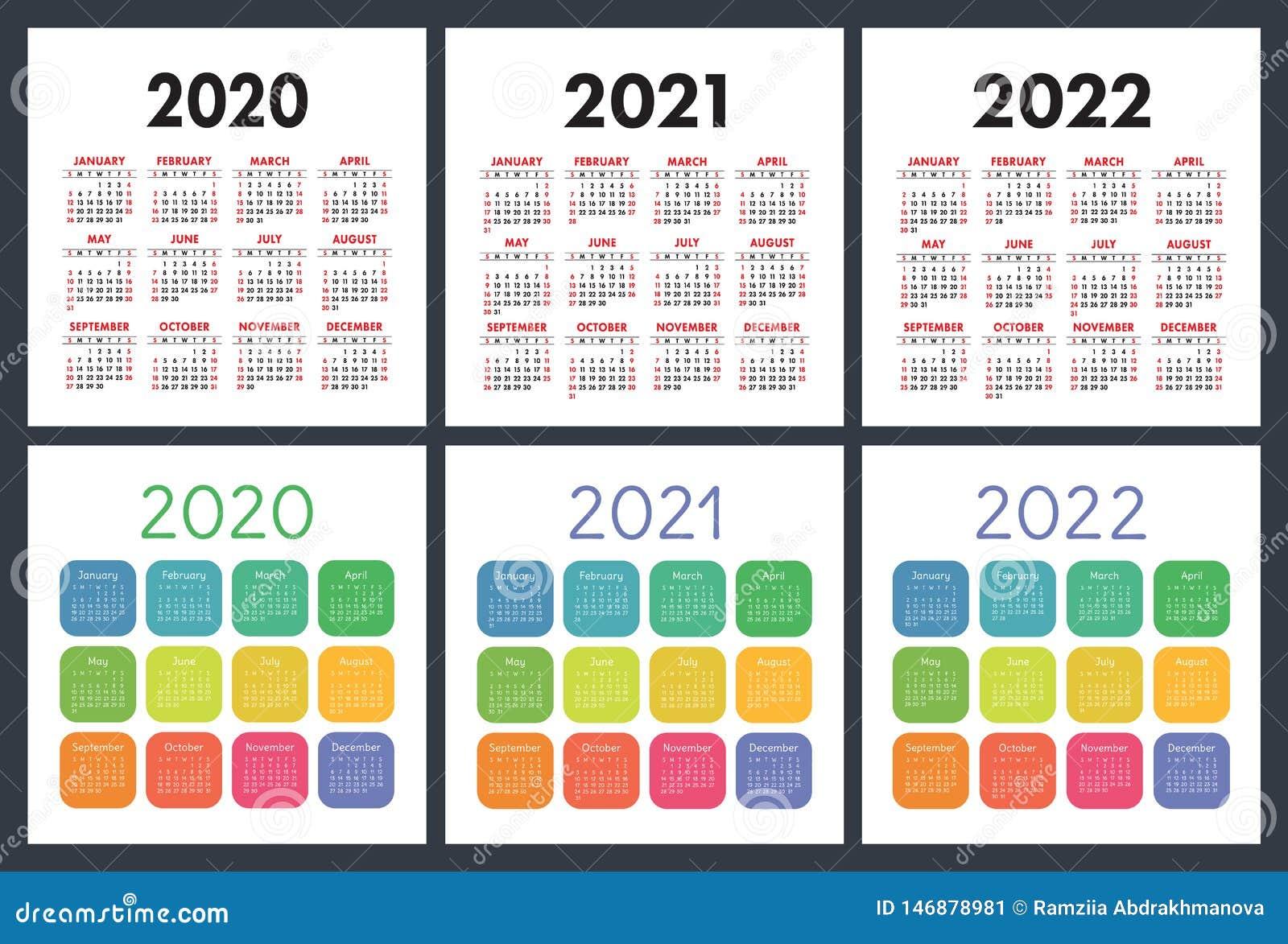 Calendrier 2021 Anglais Calendrier Anglais 2020, 2021, 2022 Calendrier De Poche Ensemble