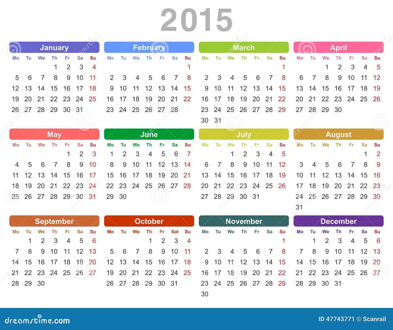 calendrier annuel de 2015 ans lundi d 39 abord anglais illustration de vecteur image 47743771. Black Bedroom Furniture Sets. Home Design Ideas