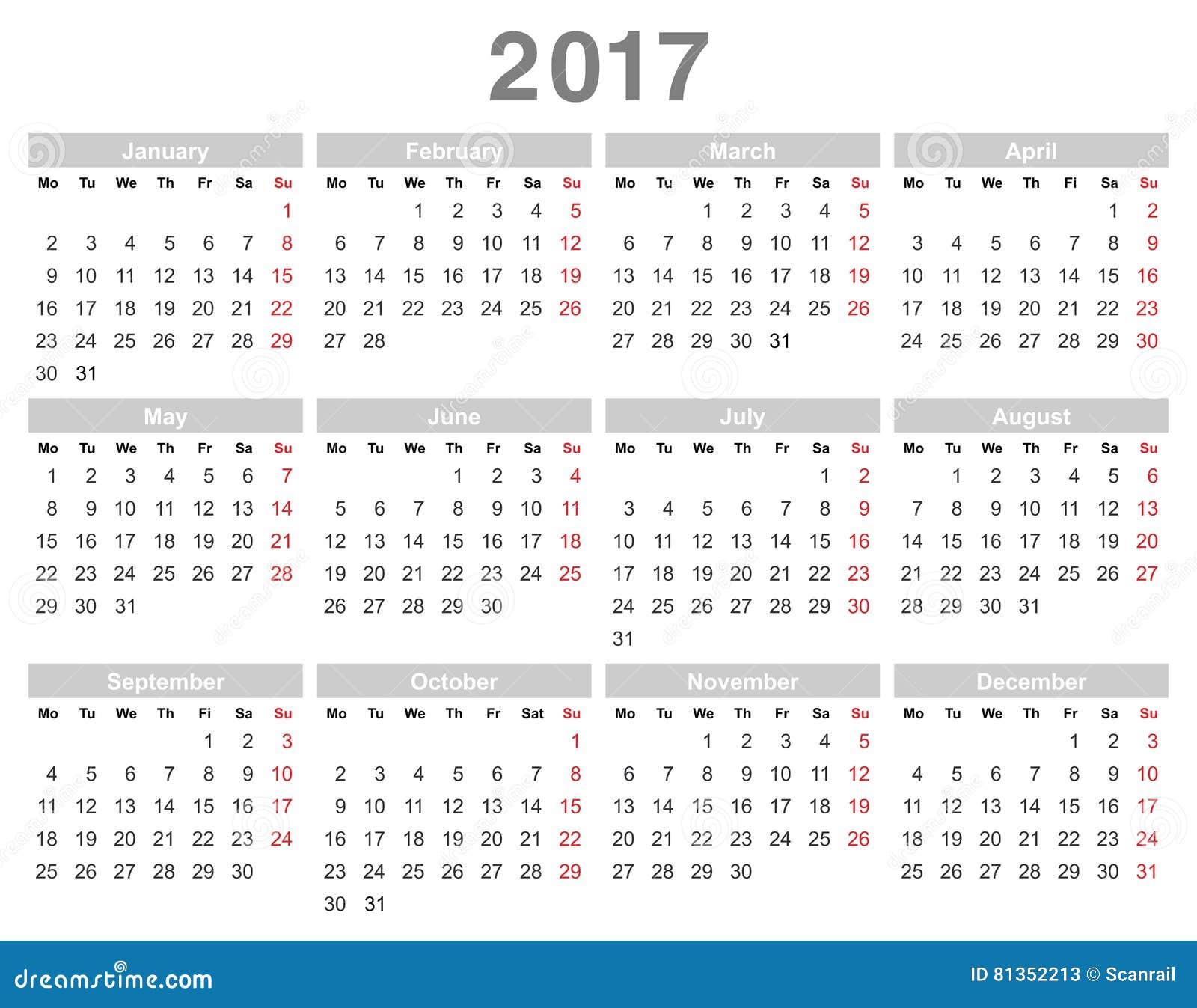 Calendrier Annuel Lundi De 2017 Ans D'abord, Anglais ...