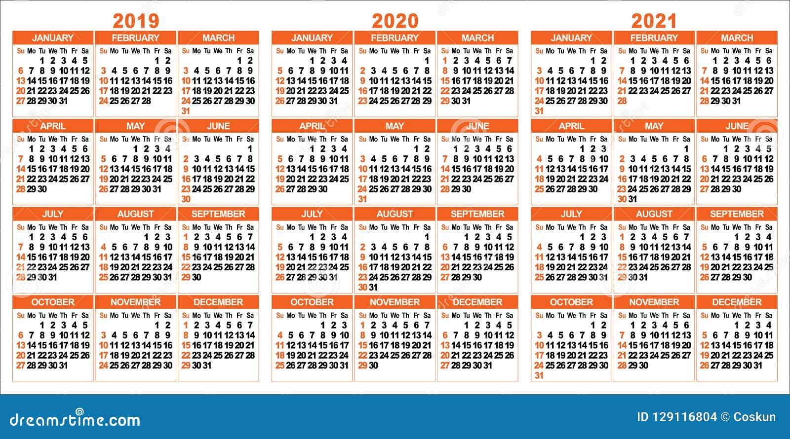 Calendrier 2021 Avec Semaine.Calendrier 2019 2020 2021 Ans Illustration De Vecteur