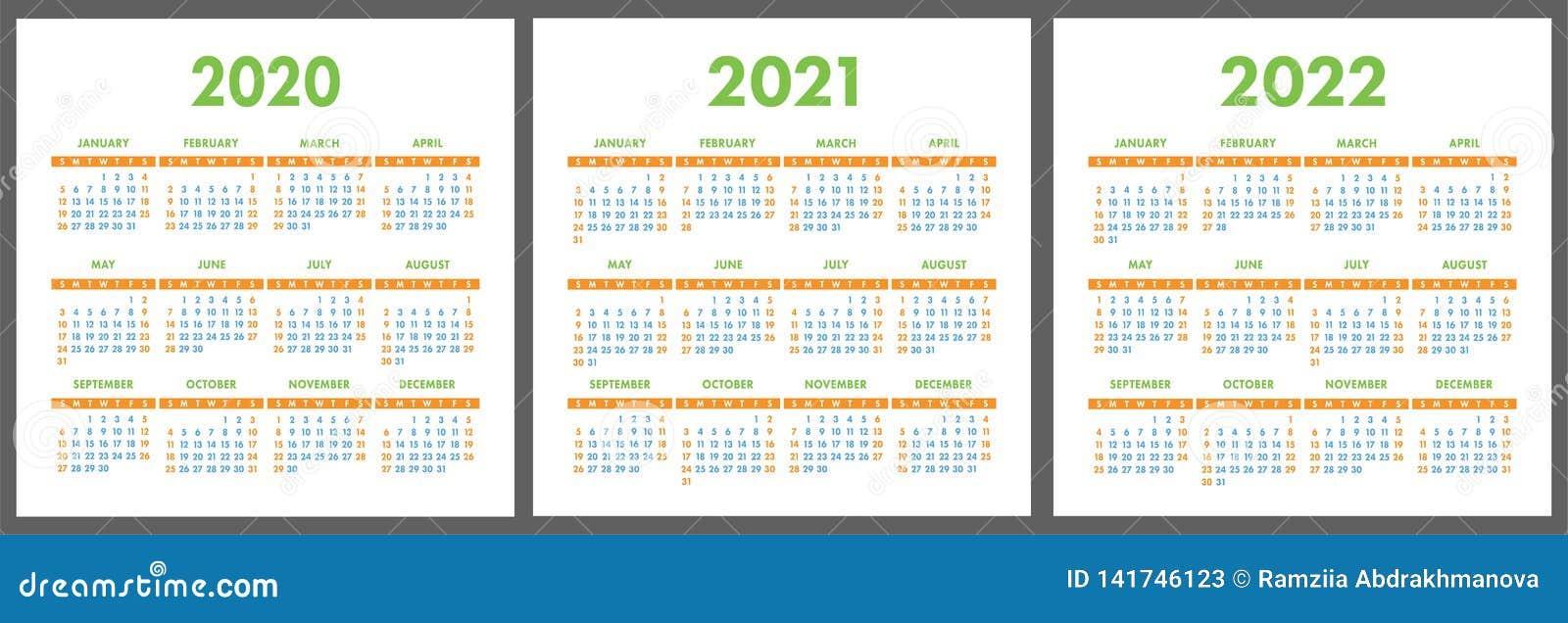 Calendrier 2020 Vectoriel Gratuit.Calendrier 2020 2021 2022 Ans Calibre Vertical De