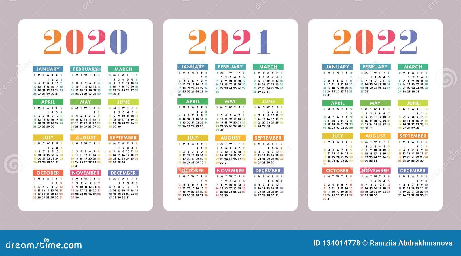 Calendrier 2021 Gratuit.Calendrier 2020 2021 2022 Ans Conception Verticale De