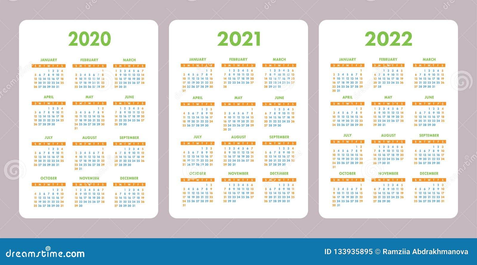 Calendrier 2021 Gratuit.Calendrier 2020 2021 2022 Ans De Poche Calibre Vertical De