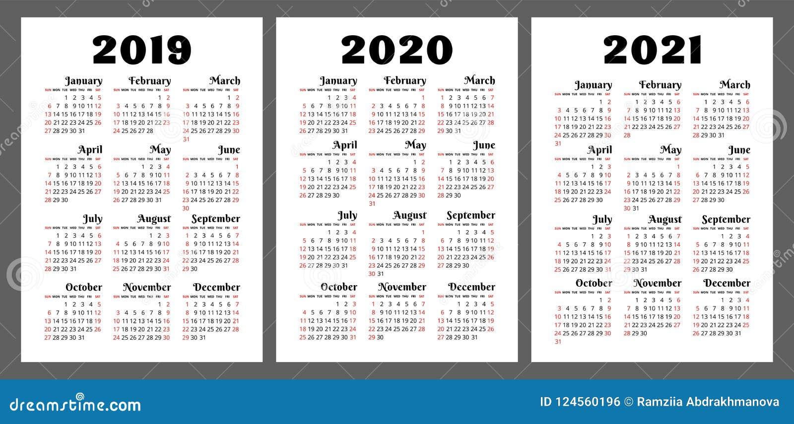Calendrier 2019 2020 2021 Ans Ensemble Coloré De Vecteur