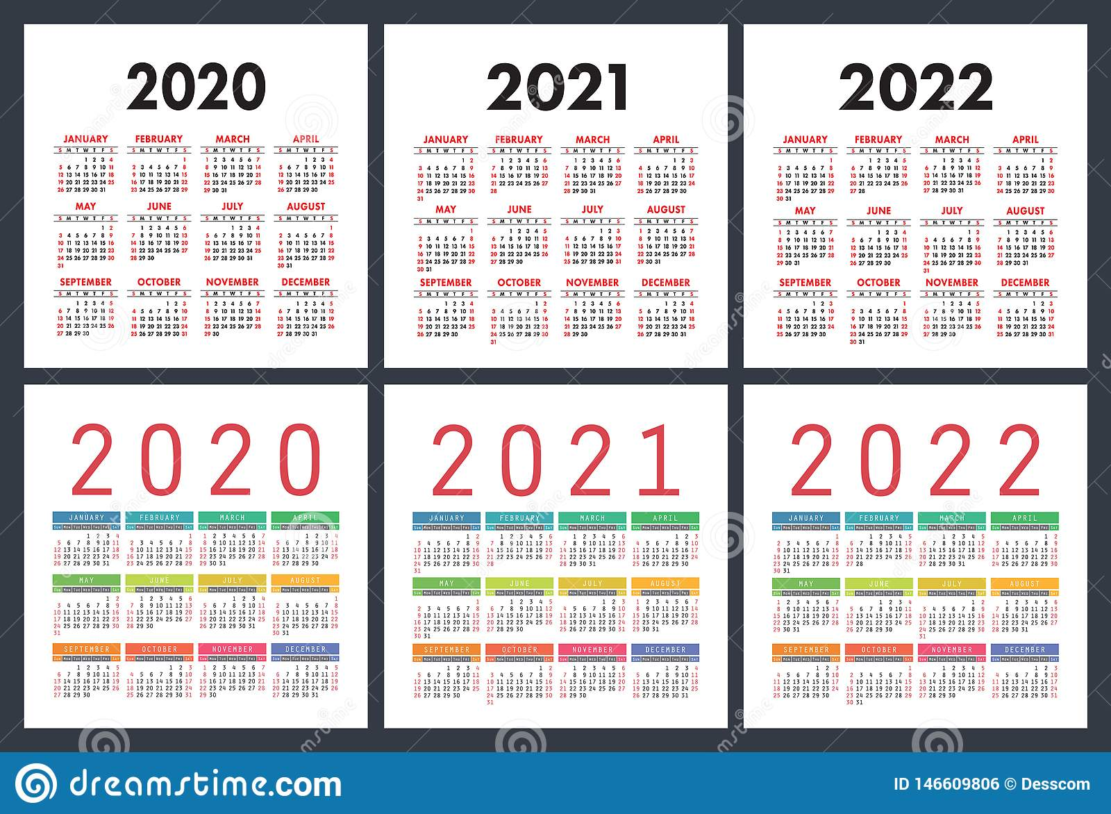 Semaines Calendrier 2020.Calendrier 2020 2021 2022 Ans Ensemble Color Calendrier