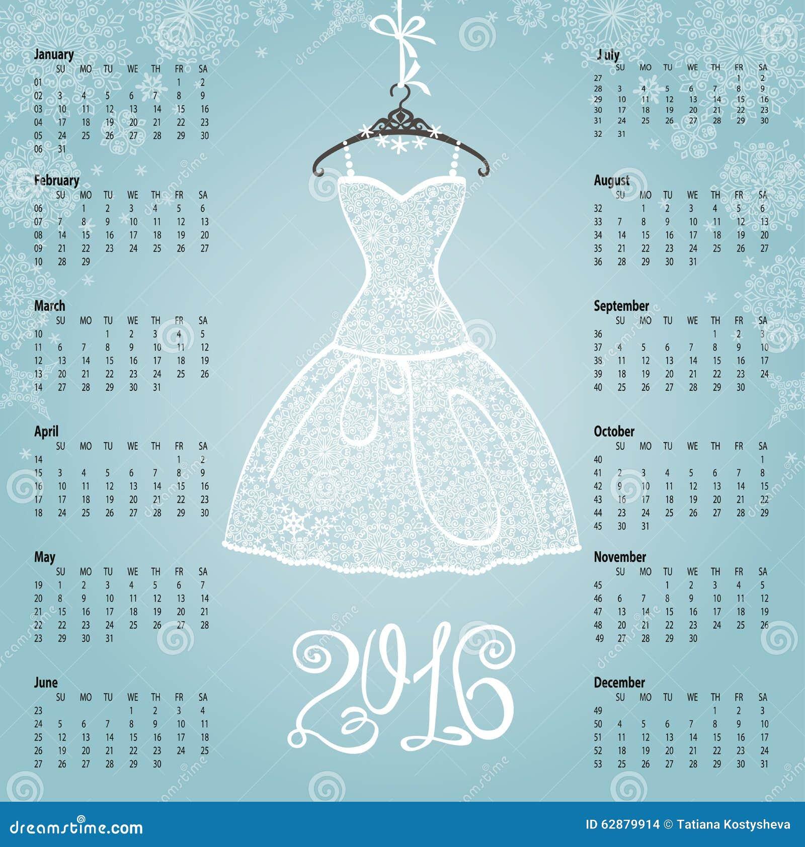 Illustration Robe Calendrier Ans 2016 De BlancheFlocons Neige 6bfyY7gv