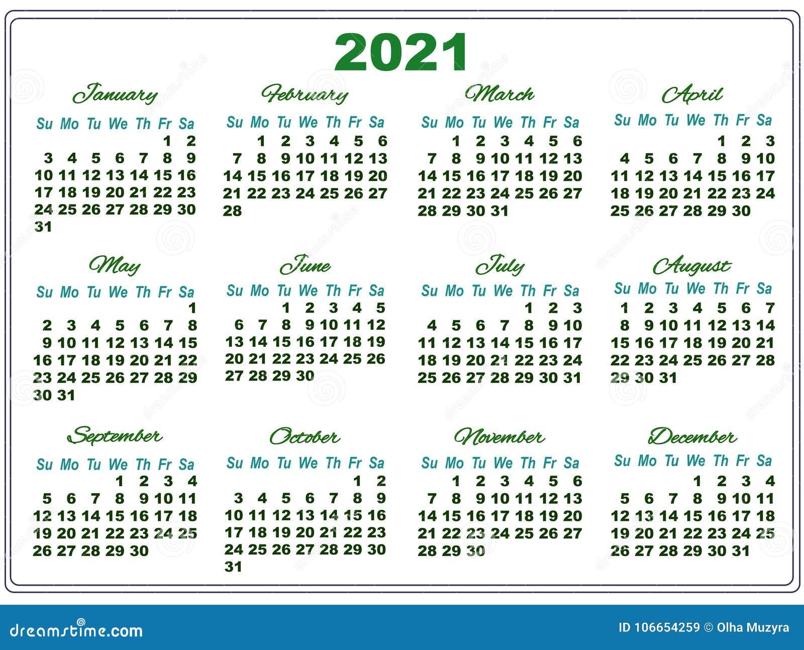 Calendrier 2021 Avec Semaine.Calendrier 2021 Avec De Grands Nombres Illustration De