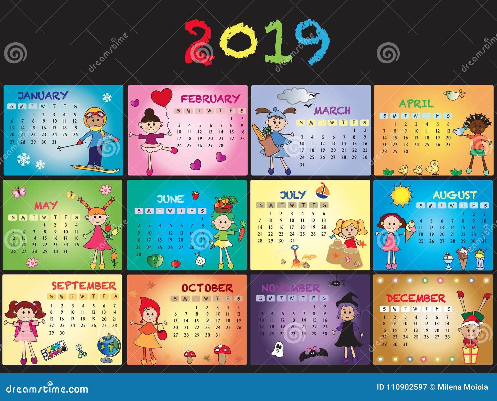 Calendrier 2019 Avec Des Enfants Illustration Stock Illustration
