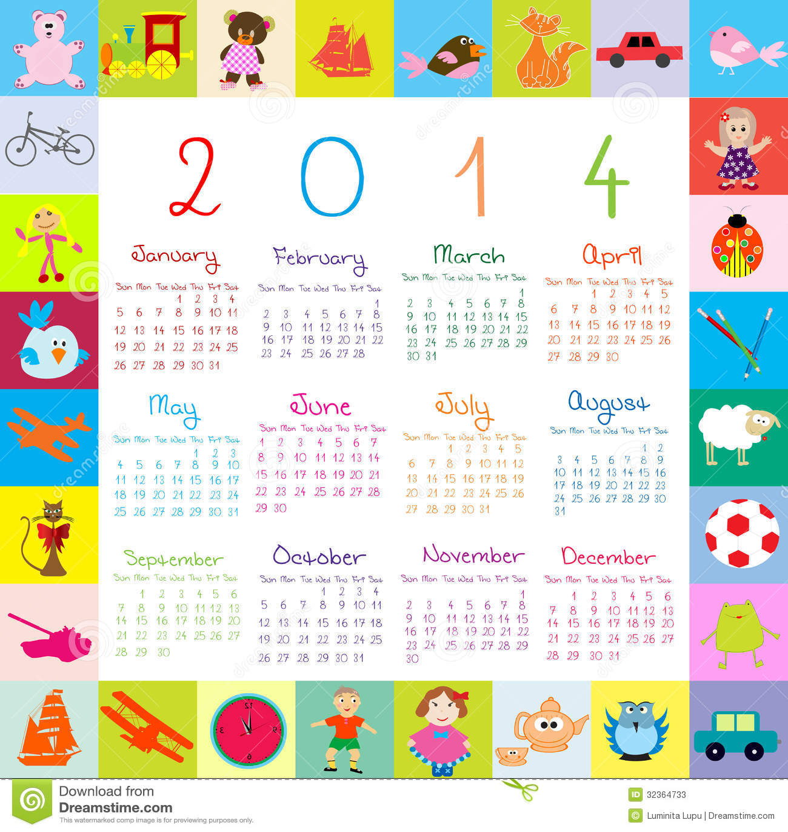 calendrier 2014 avec des jouets pour des enfants photos stock image 32364733. Black Bedroom Furniture Sets. Home Design Ideas