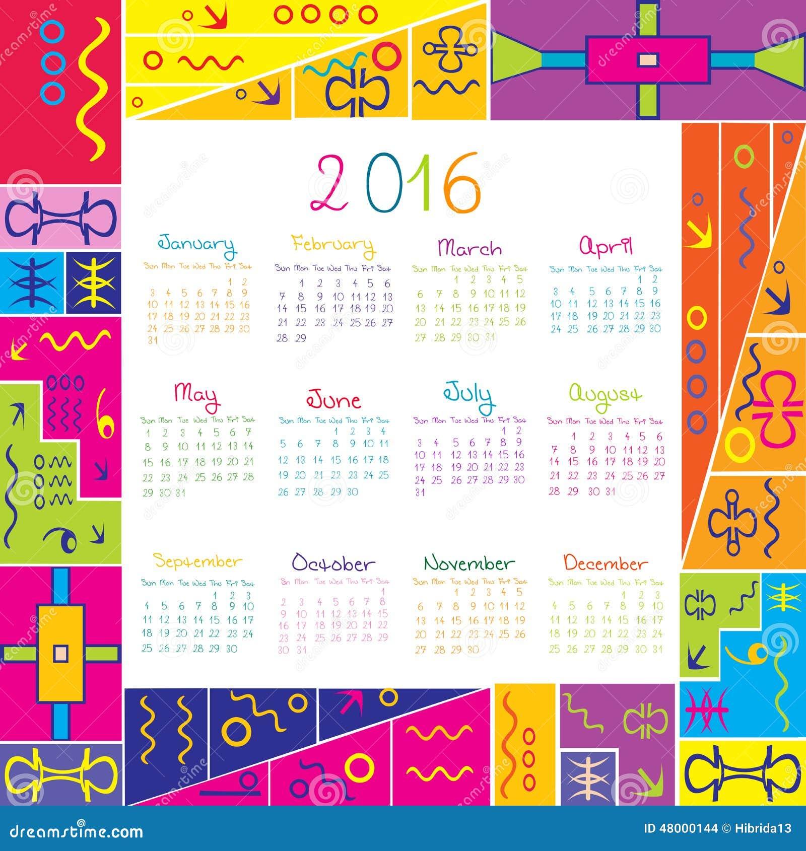 Calendrier 2016 Avec Le Cadre Pour Des Enfants Illustration de Vecteur ...