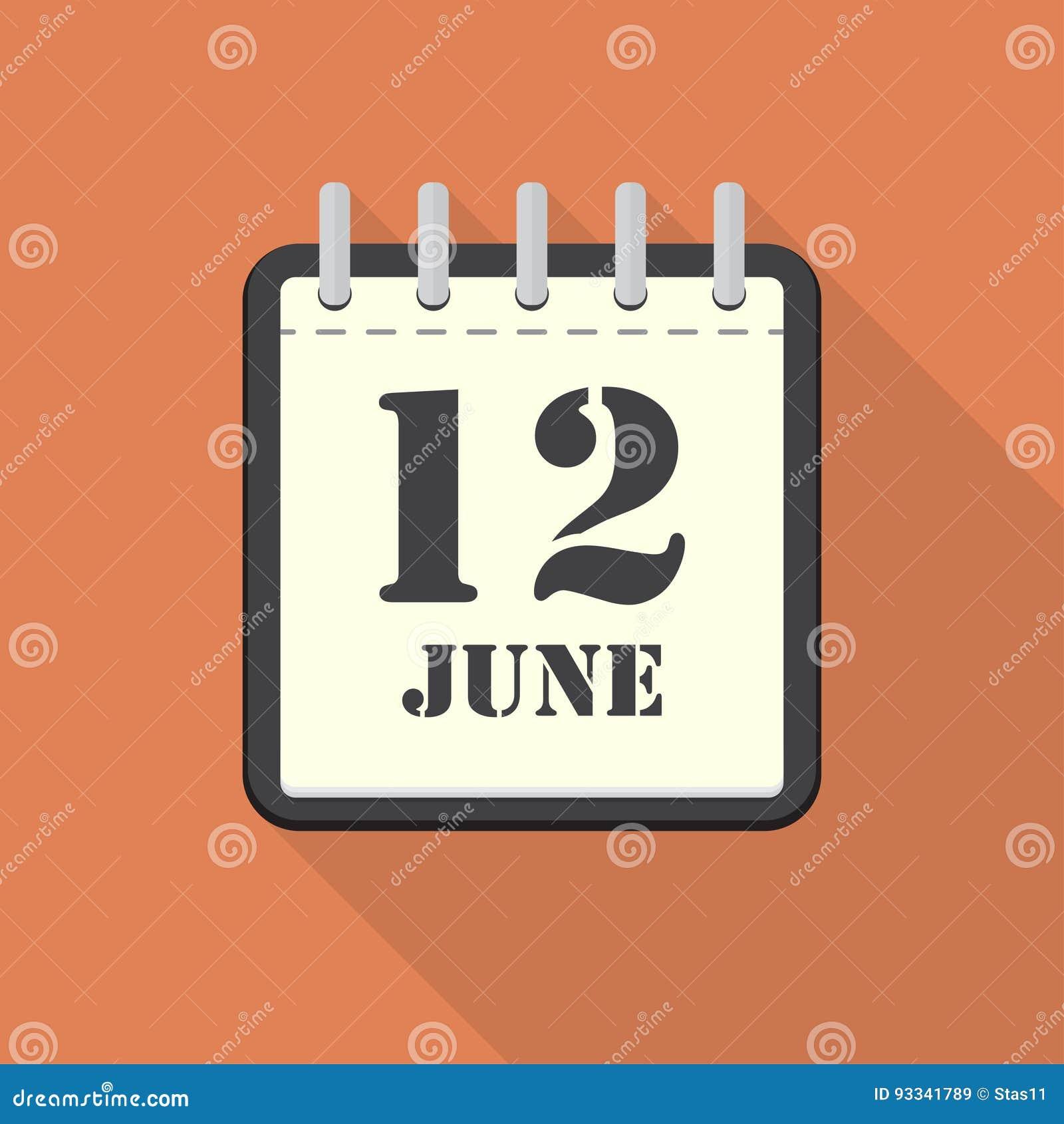 Calendrier avec le 12 juin dans une conception plate Illustration de vecteur